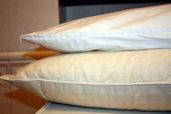 Poduszki z pierza przed praniem
